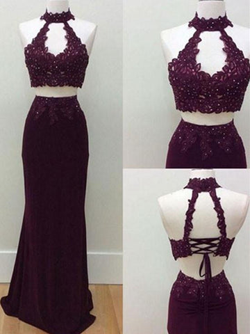 Special A Line 2 Pieces Lace Prom Dress, 2 Pieces Formal Dress, Lace Graduation Dress