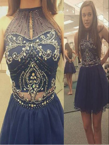 Custom Made A Line High Neck Short Blue Prom Dress, Short Graduation Dress, Short Homecoming Dress