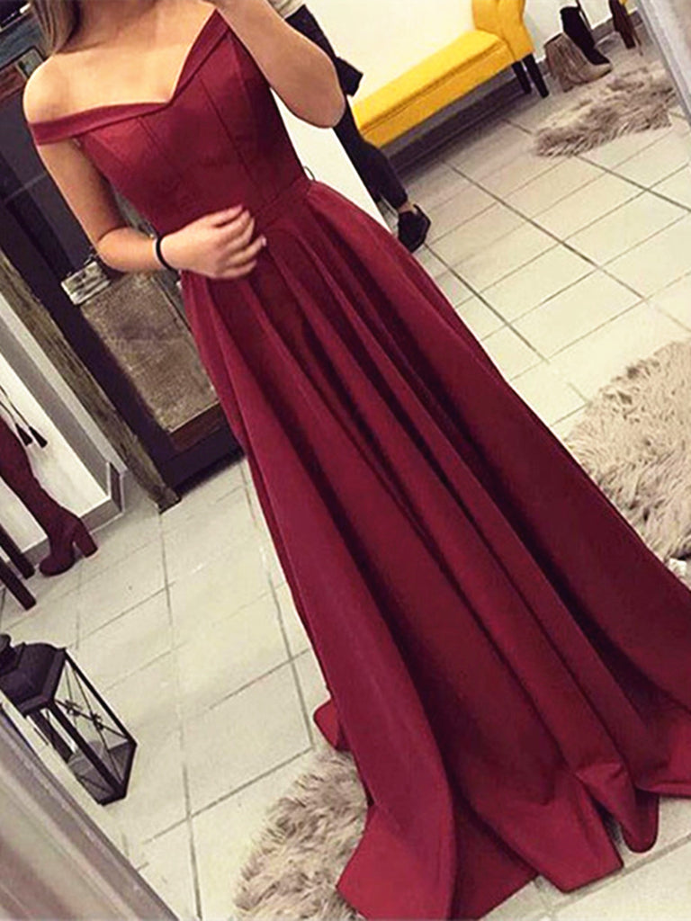 Custom Made A Line Off Shoulder Maroon Prom Dress, Burgundy Formal Dress, Wine Red Bridesmaid Dress