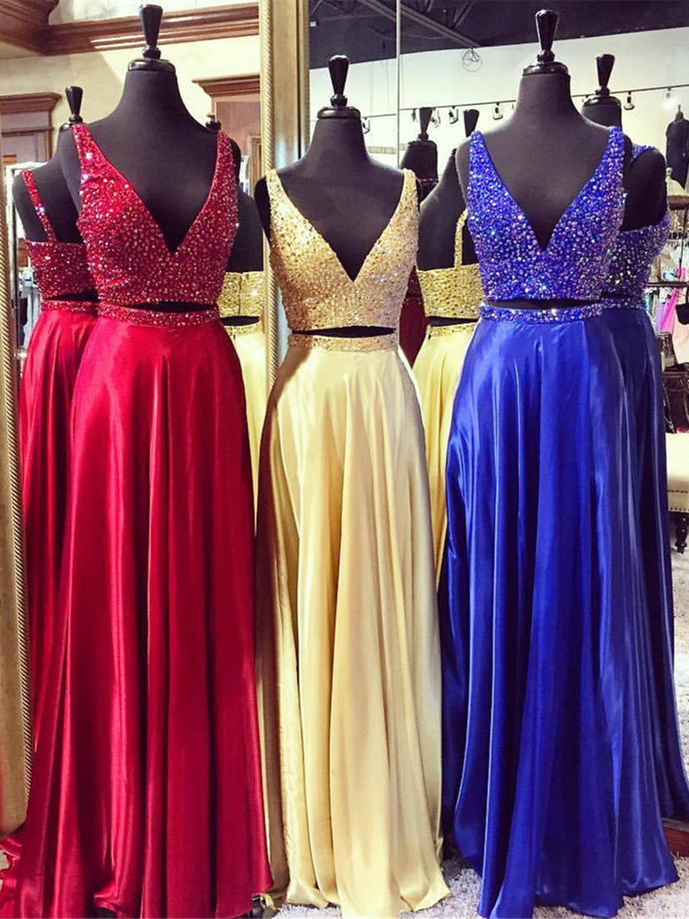 A Line V Neck 2 Pieces Redyellowblue Prom Dress 2 Pieces Formal
