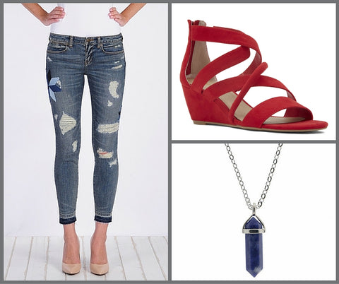 Henry and Belle jeans, red sandles, T Jazelle Cleo necklace