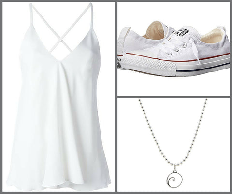 white tank, converse sneakers and wave necklace