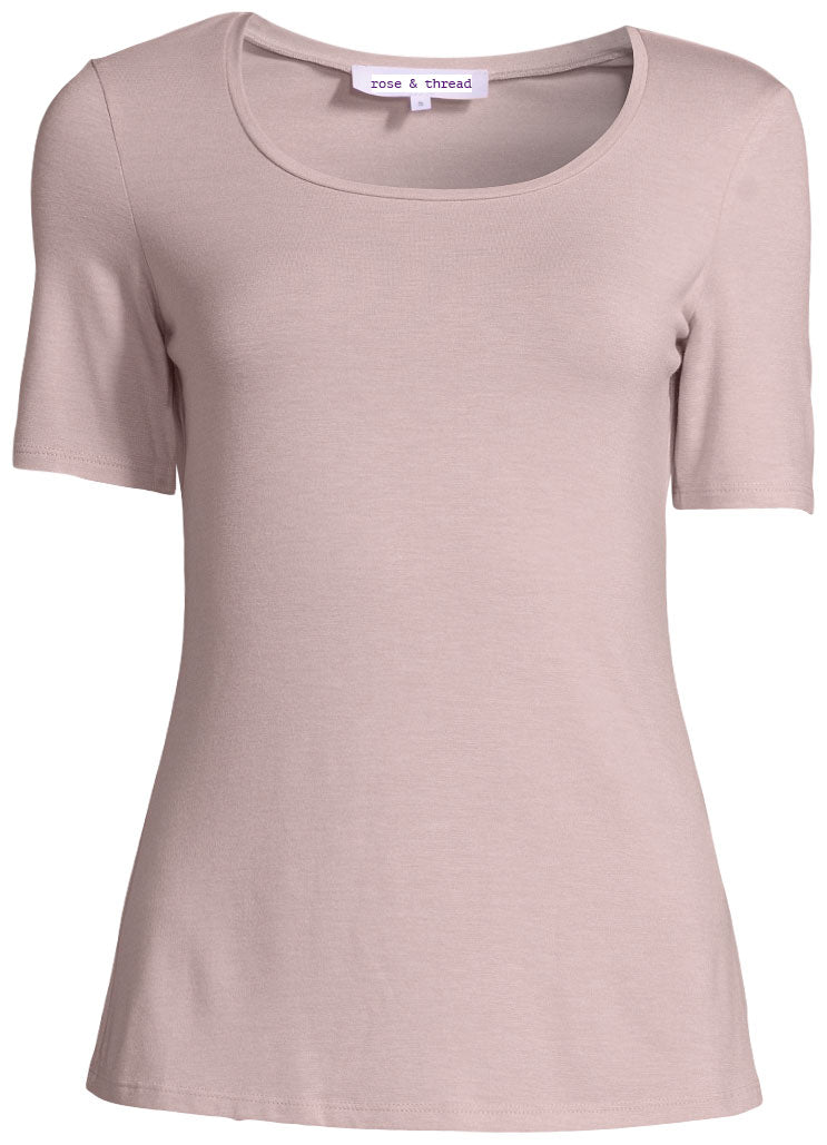The Robin Tee - Short Sleeve - Grey and Blush