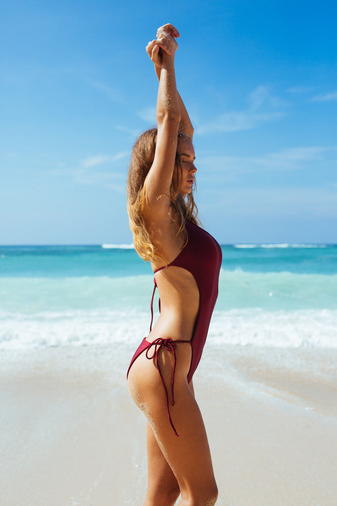 One piece swimsuit in red wine by storm swimwear