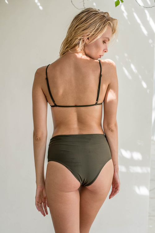 Cannes - High Waist Bikini Bottom in Military Green