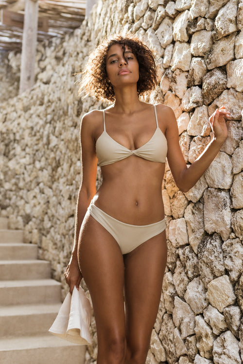 Bora Bora - Twist front padded top in Cappuccino