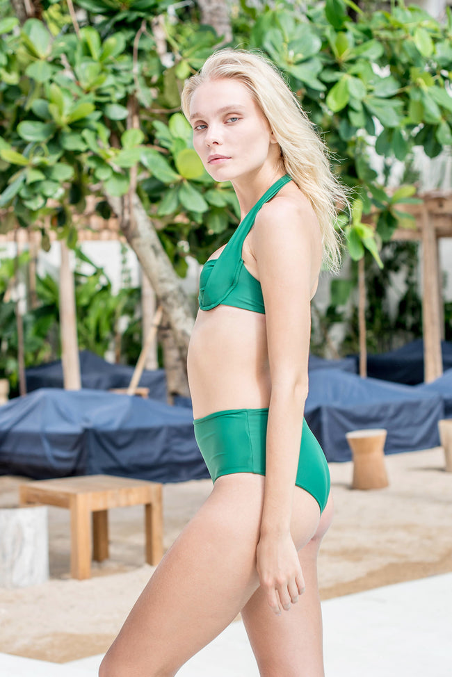 Cannes - High Waist Bikini Bottom in Palm Green