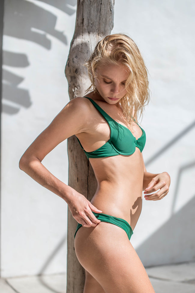 Cape Town - Padded Bikini Top in Palm Green