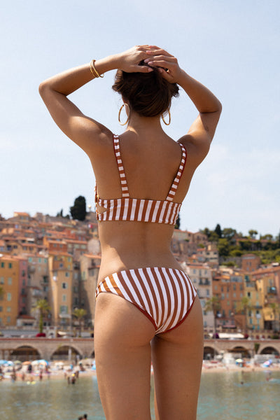 Sicily - Bikini Top in Sunburnt Stripe