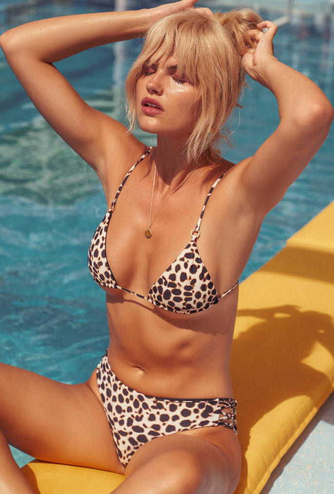 Panama - Tie Back Triangle Bikini Top in Cheetah Print