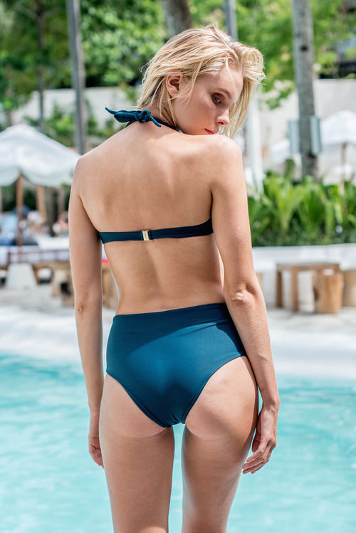 Cannes - High Waist Bikini Bottom in Jugle Green