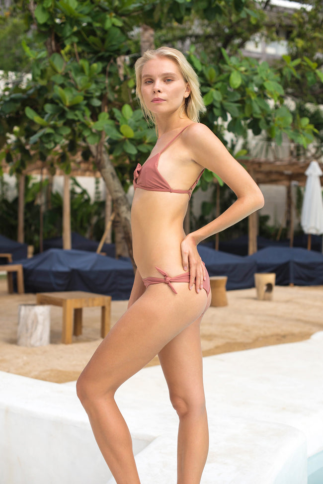 Barbados - Bow tie front bikini top in Canyon Rose