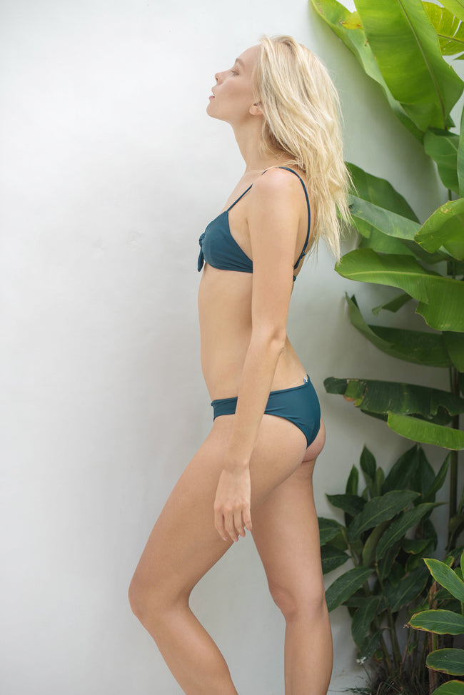 Barbados - Bow tie front bikini top in Jungle Green