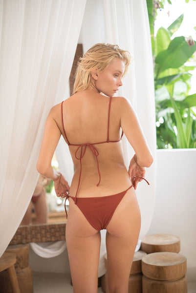 Formentera - Tie Back Triangle Bikini Top in Desert Sand