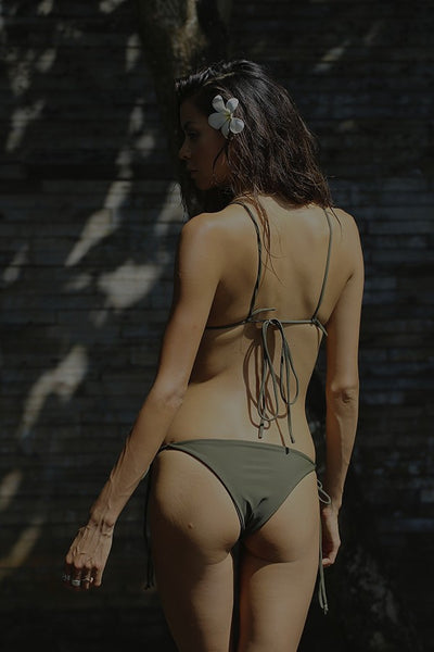 Military Green tie side bikini bottom by storm swimwear