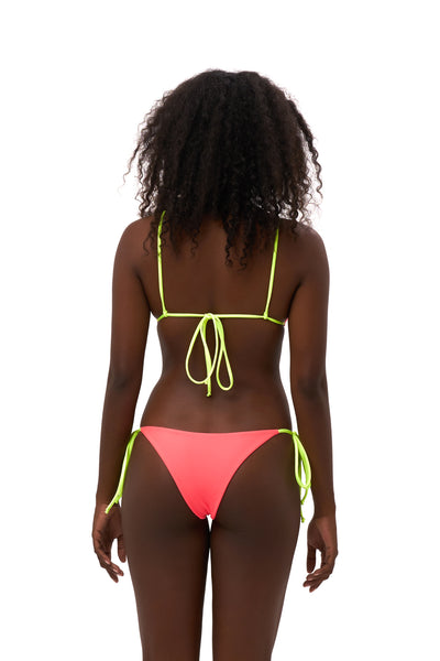 Formentera - Tie Back Triangle Bikini Top in Neon Orange