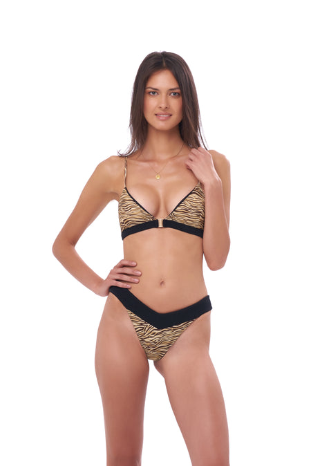 Formentera - Tie Back Triangle Bikini Top in Leopard Print