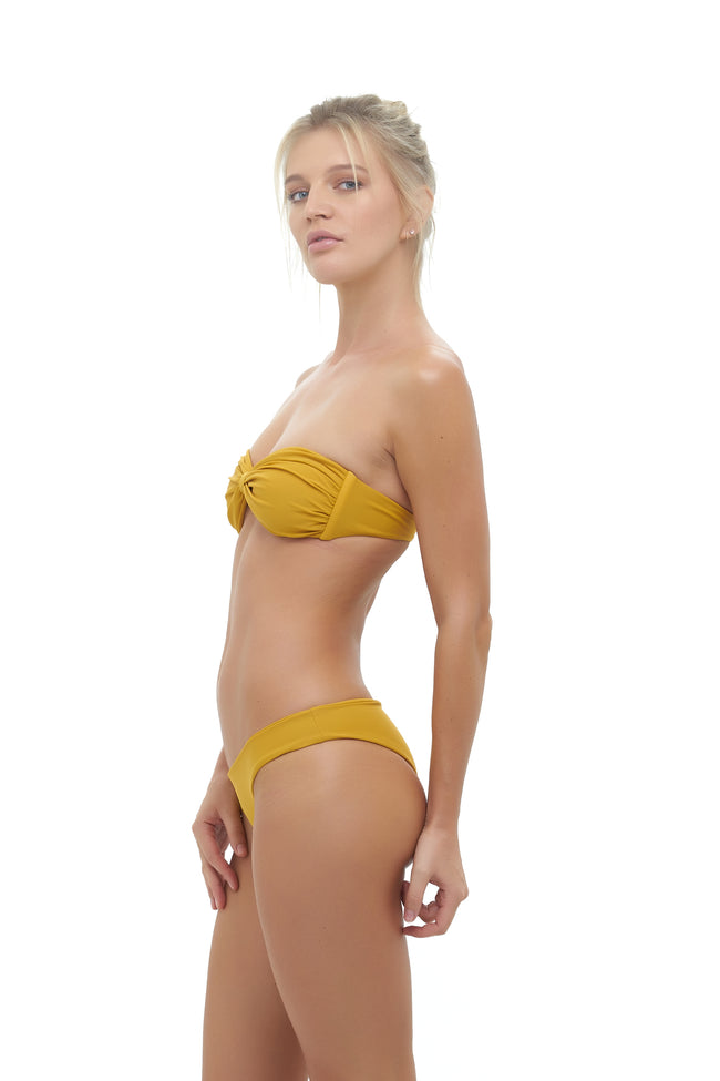 Amalfi - Bandeu centre ruched bikini top in Mustard