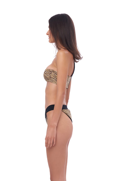 Ponza - One shoulder bikini top in Tiger Print