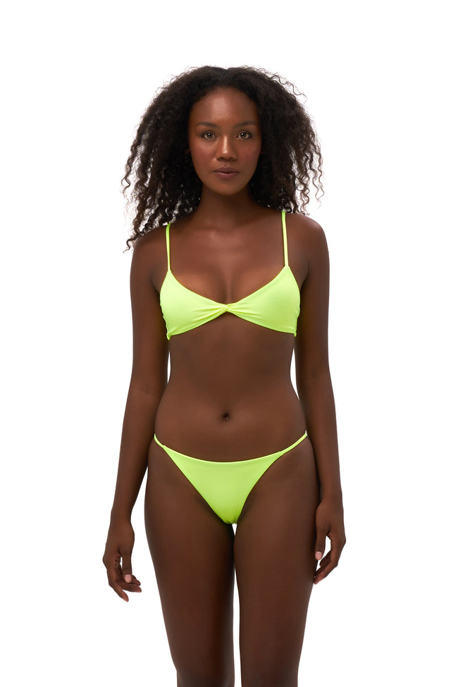 Bora Bora - Twist front padded top in Neon Yellow