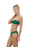 Amalfi - Bandeu centre ruched bikini top in Palm Green
