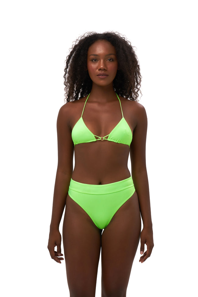 Blue Lagoon - Tie Back with Padded Bikini Top in Neon Green