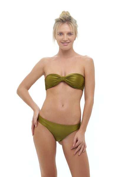 Amalfi - Bandeu centre ruched bikini top in Champagne