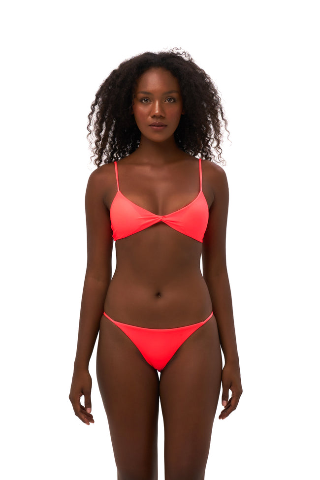 Bora Bora - Twist front padded top in Neon Orange
