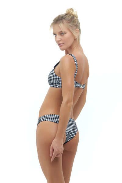 Cottesloe - Bikini top in Gingham Black and White Check (Pre Order)