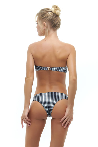 Amalfi - Bandeu centre ruched bikini top in Gingham Black and White Check