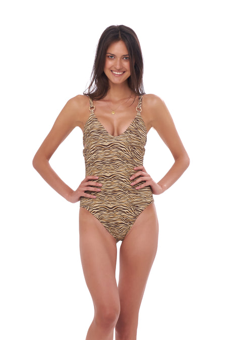 Cinque Terre - One shoulder One Piece in Seascape Jacaranda Textured