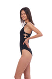 Sicily - One Piece Swimsuit in Seascape Black Textured