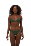Aruba - Centre Back Ruche Bikini Bottom in Plain Bamboo