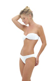 Bandeu centre ruched bikini top in white by storm swimwear
