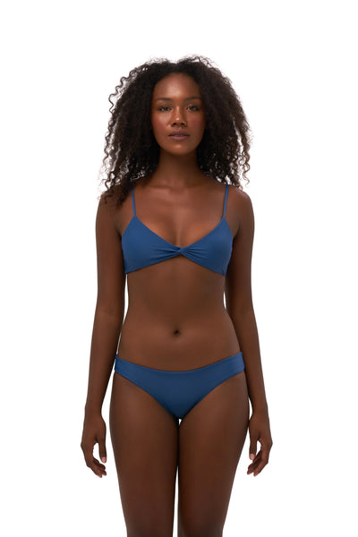 Bora Bora - Twist front padded top in Ocean Blue