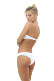 Bandeu centre ruched bikini top in white by storm swimsuit