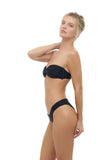 Amalfi - Bandeu centre ruched bikini top in Black