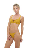 Corsica - Lace Up bikini top in Mustard