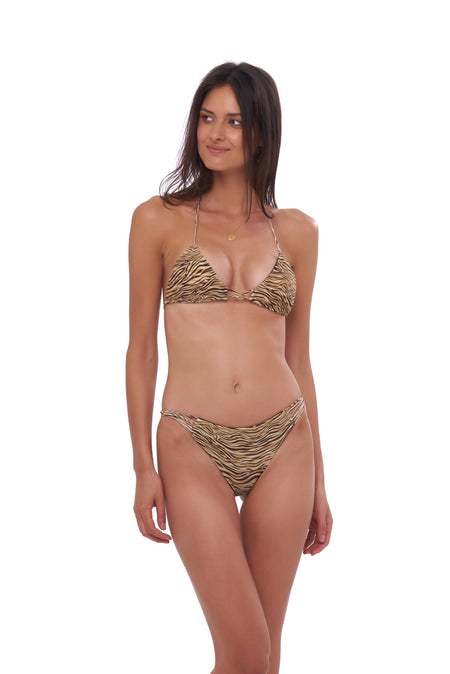 Cinque Terre - One shoulder bikini top in Leopard Print