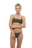 Montauk - Scoop bikini Top in Military Green