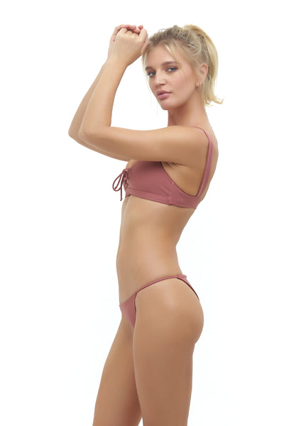 Capri - Tube Single Side Strap Bikini Bottom in Canyon Rose