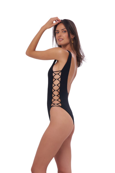 Playa Del Amor - One Piece Swimsuit in Seascape Black Textured