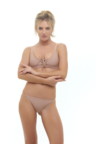 Corsica - Lace Up bikini top in Nude
