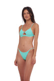 Capri - Tube Single Side Strap Bikini Bottom in Aquamarine
