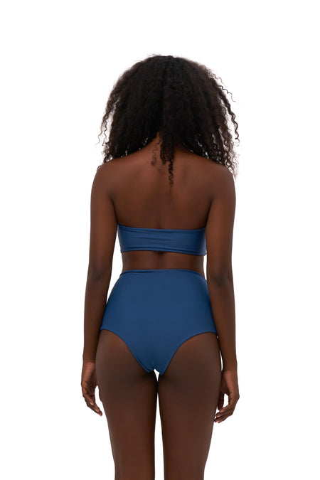 Aruba - Centre Back Ruche Bikini Bottom in Raven Corduroy