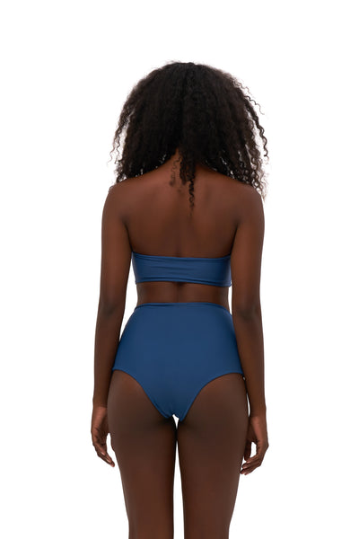Cannes - High Waist Bikini Bottom in Ocean Blue