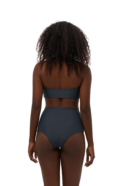 Cannes - High Waist Bikini Bottom in Slate Grey