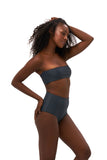 Ravello - Plain Bandeu Bikini Top in Slate Grey