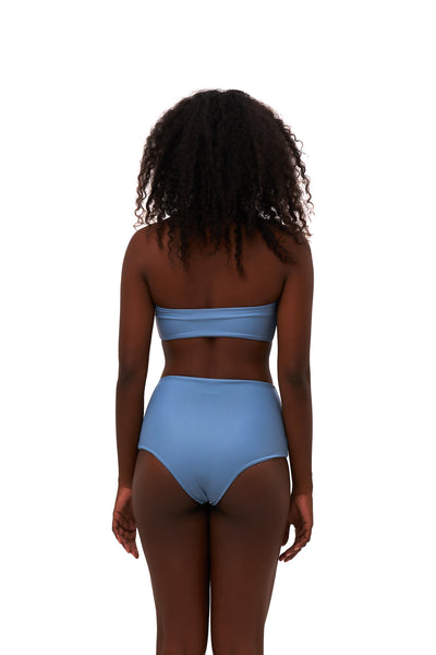 Ravello - Plain Bandeu Bikini Top in Sky Blue