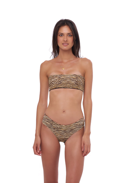 Ravello - Plain Bandeu Bikini Top in Tiger Print